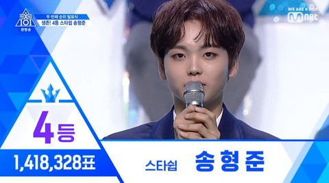 PRODUCE X 101, today's ranking    1st place, Kim WooSeok 2nd place